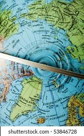 Northpole on globe