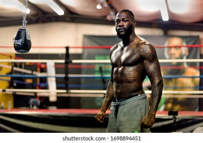 NORTHPORT, ALABAMA, USA, 2/7/2020 Deontay Wilder, 34 year old WBC Heavyweight meets the press to talk about his upcoming Heavyweight title bout against Tyson Fury on 2/22/2020 in Las Vegas