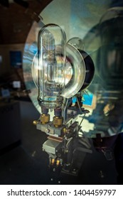 Northport, Michigan / USA Sept 08 2018: A lighthouse light bulb on display Grand Traverse Lighthouse built by the US Lighthouse Service in 1858, Leelanau Peninsula, Michigan.