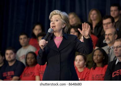 Northridge, CA January 17, 2008:  Presidential candidate Senator Hillary Clinton at a rally at California State University Northridge (CSUN).