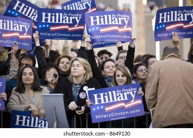 Northridge, CA January 17, 2008:  Presidential candidate Senator Hillary Clinton supporters at a rally at California State University Northridge (CSUN).