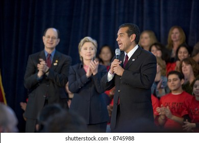 Northridge, CA January 17, 2008:  Presidential candidate Senator Hillary Clinton with Los Angeles Mayor, Antonia Villaraigosa at a rally at California State University Northridge (CSUN).