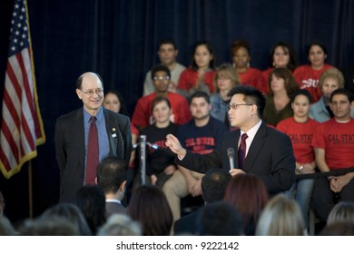 Northridge, CA January 17, 2008:  Hillary Clinton rally at California State University Northridge (CSUN).  Congressman Brad Sherman speaking with the audience.