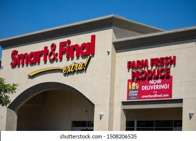 Northridge, California / USA -  September 18, 2019: Smart and Final Extra! located in the retail and dining complex at the Devonshire Reseda Shopping Center, serving the Northridge area.