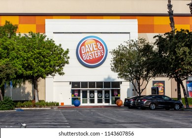 Northridge, CA/USA. July 27,2018. Dave and Buster's entrance and sign. Dave & Buster's is an American restaurant and entertainment business.