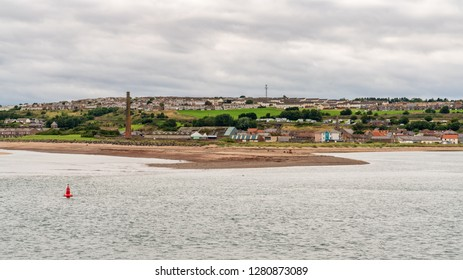 The Northumberland coast, looking from Berwick-upon-Tweed towards Sandstell Point and Spittal in Northumberland, England, UK