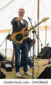 NORTHUMBERLAND, ENGLAND, AUGUST 30, 2014. Music duo Paul and Rich perform at fund raising event in aid of Great North Air Ambulance. August 30, 2014, Northumberland, England, UK.