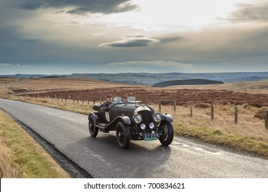 NORTHUMBERLAND, ENGLAND - MARCH 31, 2017: A 1923 Bentley 3-4 1/2 competes on the 2017 Flying Scotsman Rally for Pre War cars organised by ERA (Endurance Rally Association).