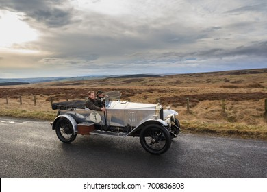 NORTHUMBERLAND, ENGLAND - MARCH 31, 2017: A 1921 British Vauxhall 30/98  competes on the 2017 Flying Scotsman Rally for Pre War cars organised by ERA (Endurance Rally Association).
