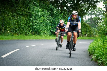 NORTHUMBERLAND, ENGLAND, UK - AUGUST 07, 2016: A group of riders out on a training ride for a long distance endurance road race.