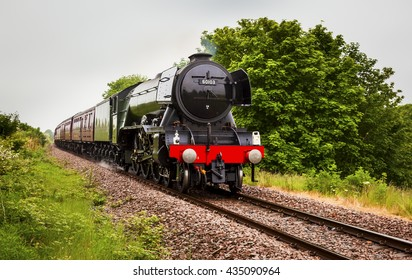 NORTHUMBERLAND, ENGLAND, UK.JUNE 11, 2016. The Flying Scotsman Steam Train approach's Blyth on the Blyth and Tyne Railway Line. June 11, 2016, Northumberland, England, UK.