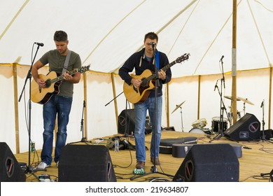 NORTHUMBERLAND,ENGLAND, AUGUST 30, 2014. Music duo, Dead Mans Shoes, perform at fund raising event in aid of Great North Air Ambulance, August 30, 2014, Northumberland, England, UK.