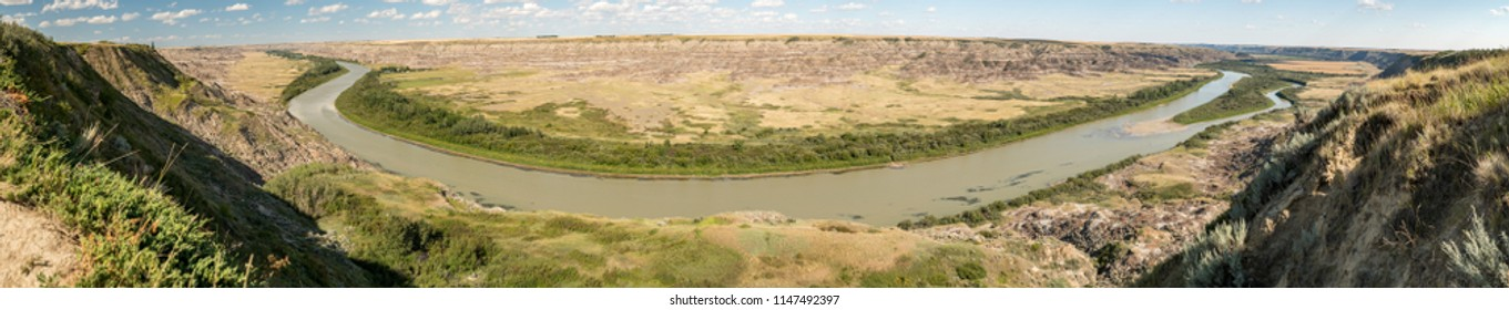 Northwest of Drumheller, Alberta, Canada.  Panoramic view of Red Deer River Valley and Badlands in summer from Orkney Lookout/Viewpoint.