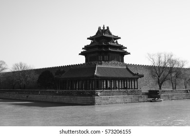 The northwest of Forbidden City in Beijing China, Black and White