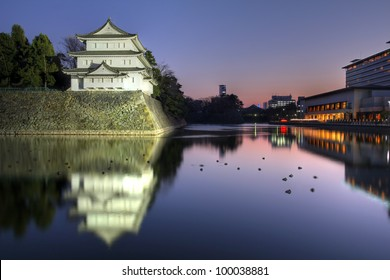 Northwest turret (Inui Turret) of the Nagoya Castle in Japan at sunset