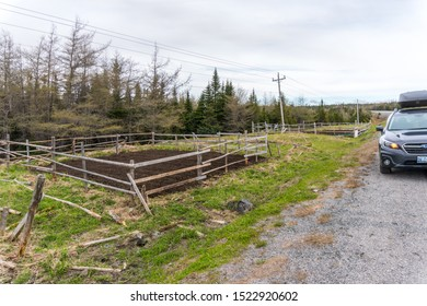 Northwestern Newfoundland, Canada - 06/15/2019: A tourist's car sits parked beside two freshly prepared roadside gardens - a common site along barren stretches of road in Newfoundland,