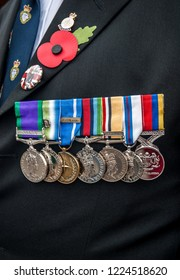 Northwich, Cheshire, UK NOvember 2009: Detail of military medals worn by a war veteran during remembrance day in November, England, Uk.