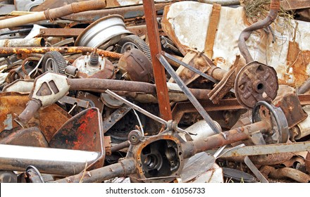 NORTON, CANADA - SEPTEMBER 11: A pile of automotive parts at a demolition derby on September 11, 2010 in Norton, Canada.