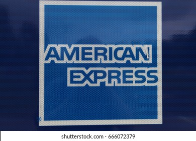 Norton Canes, Staffordshire, England, UK.  24 June 2017. American Express Card Sign