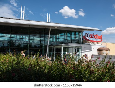 Norton Canes, United Kingdom - August 07 2018:   The front of the Roadchef motorway services at Norton Canes on the M4
