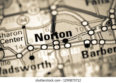 Norton. Ohio. USA on a map