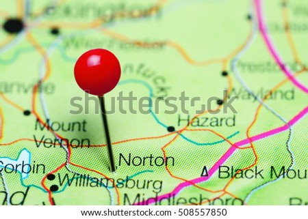 Kentucky On Usa Map.Norton Pinned On Map Kentucky Usa Stock Photo Edit Now 508557850