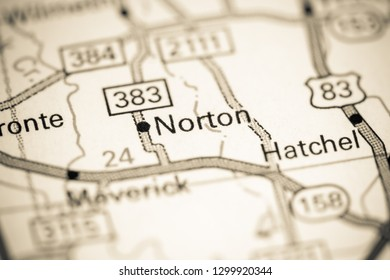 Norton. Texas. USA on a map