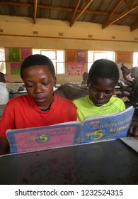 Norton,Zimbabwe,20 October 2018. Two fifth grade  schoolboys studying  a  science  textbooks  donated  by  UNICEF    inside  a  classroom at  school
