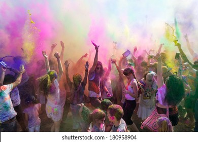 Norwalk, California, USA - March 8:Holi Festival of Colors. People dancing and celebrating during the color throw. 2014