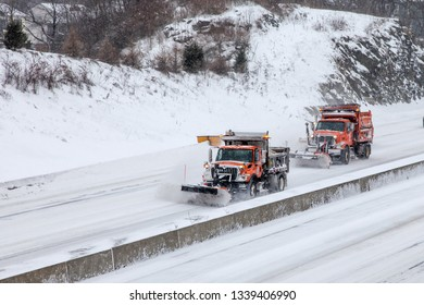 NORWALK, CONNECTICUT, USA - JANUARY 27, 2015. Plow cars on I-95 after big winter storm.