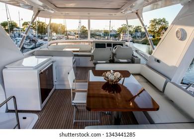 NORWALK, CONNECTICUT, USA - SEPTEMBER 22, 2016:  Azimut 66 top deck area view exhibit at Norwalk boat show   September 22, 2016 / Norwalk /USA  on September 22, 2016