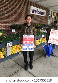 NORWALK, CT,  USA - APRIL12, 2019: People on strike are standing outside Stop and Shop on 385 Connecticut Avenue.