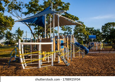 NORWALK, CT, USA - AUGUST 1, 2020: Empty closed playground is  during COVID-19 virus