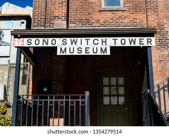 NORWALK, CT, USA - MARCH 26, 2019: SONO switch tower museum is landmark tourists and local people attraction