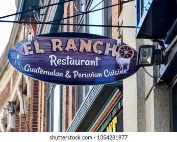 NORWALK, CT, USA - MARCH 26, 2019:  El Rancho Guatemalan and Peruvian cuisine restaurant bar sign near Washington St.