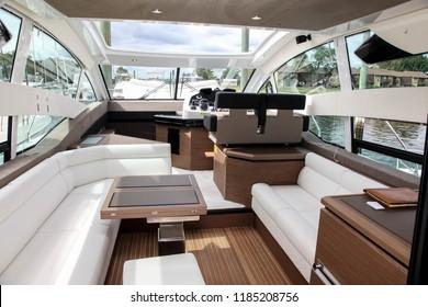 NORWALK, CT, USA- SEPTEMBER 20, 2018: Grand Turismo by Beneteau  displayed on  Progressive Norwalk Boat Show 2018.