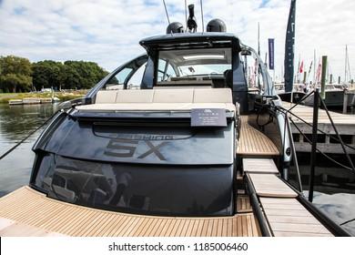 NORWALK, CT, USA-SEPTEMBER 20, 2018: Pershing 5X displayed on  Progressive Norwalk Boat Show 2018.