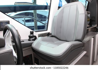 NORWALK, CT, USA-SEPTEMBER 20, 2018: Seat with control panel from Pershing 5X displayed on  Progressive Norwalk Boat Show 2018.