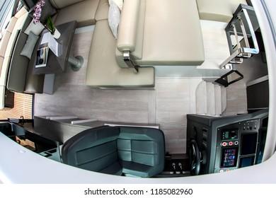 NORWALK, CT, USA-SEPTEMBER 20, 2018: View from sky window inside Pershing 5X cabin displayed on  Progressive Norwalk Boat Show 2018.