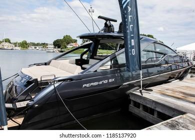 NORWALK, CT, USA-SEPTEMBER 20, 2018: Pershing 5X displayed by Allied Marine on  Progressive Norwalk Boat Show 2018.