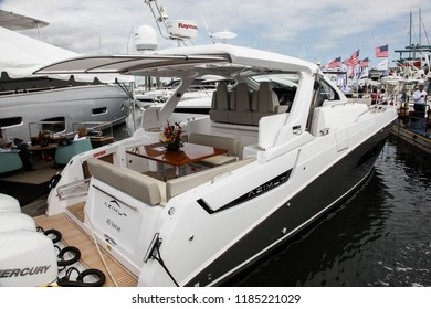 NORWALK, CT, USA-SEPTEMBER 20, 2018: Azimut 40 Verve displayed on  Progressive Norwalk Boat Show 2018.