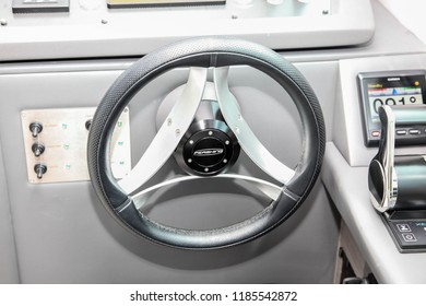 NORWALK, CT, USA-SEPTEMBER 20, 2018: Wheel detail from Pershing 5X displayed by Allied Marine on  Progressive Norwalk Boat Show 2018.
