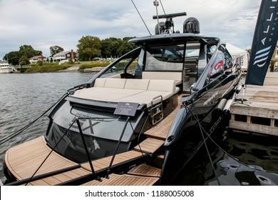 NORWALK, CT, USA-SEPTEMBER 22, 2018: Pershing 5X shown at  Progressive Norwalk Boat Show 2018.
