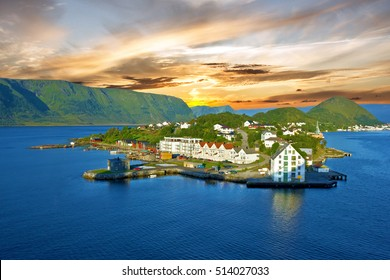 Norway: Alesund town sea view, Norwegian fjords landscape