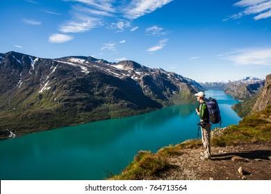 Norway August 11 2012. A hiker in Jotunheimen, Norway