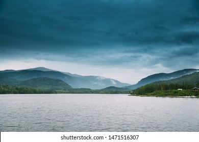 Norway. Beautiful Lake Kroderen In Summer Cloudy Day. Norwegian Nature. Kroderfjorden In Municipality Of Krodsherad In Buskerud, Norway.