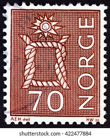 NORWAY - CIRCA 1970: A stamp printed in Norway shows Reef Knot, circa 1970.