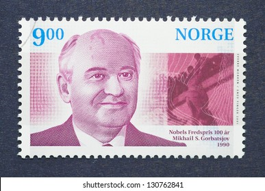 NORWAY � CIRCA 2001: postage stamp printed in Norway showing an image of Nobel Peace prize winner Mikhail Gorbachev, circa  2001.