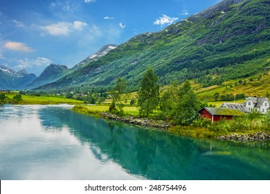 Norway. Country houses in village Olden