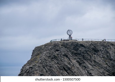Norway, Finnmark, Magerøya island. Nordkapp: nordkapp cliffhanger with the globus monument in summer cloudy day.